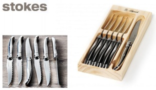 Stokes Set Of Stainless Steel Laguiole 6 Pcs Steak Knives With Wooden Box