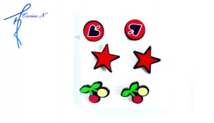 Corine.N Set Of Classy Stars & Cherry Earrings 3 Pairs