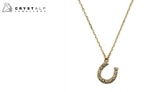 CrystalP Gold Alloy Horseshoe Necklace For Women