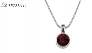 CrystalP Rhodium Siam Red Kristin Necklace For Women