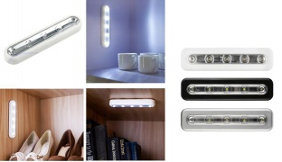 5-LED White Self-Adhesive Faucet Lights - Black