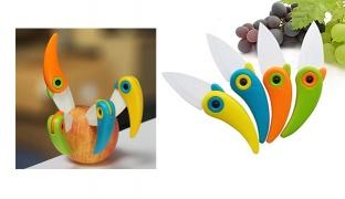 Bird Shaped Picnic Folding Mini Ceramic Knife - Yellow