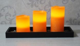 Set Of 3 Led Candles With Base & Rocks