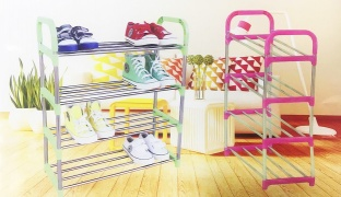 Easy Assembly Of Stainless Steel Shoe Rack - Green