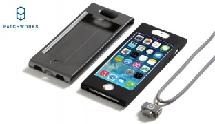 Patchworks Colorant Black Link Neck Type Lanyard Strap Case With Card Pocket For iPhone 6/6s