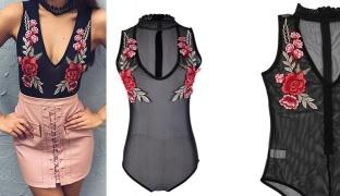 Sexy Floral Embroidered Transparent Black Halter V Neck Bodysuit For Women Size: Medium