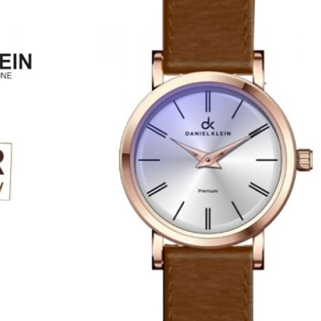 Daniel Klein DK10582 Premium Brown Leather Strap Watch For Women