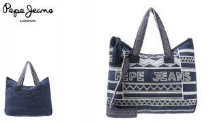 Pepe Jeans Blue Jeans Beach Bag Forf Women