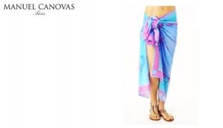 Manuel Canovas Colorful Shelly Bleu Patterned Pareo For Women