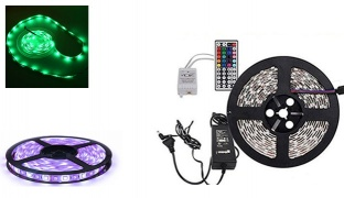 5 Meter RGB Flexible Color Changing LED Strip Kit With Adapter & Remote Control