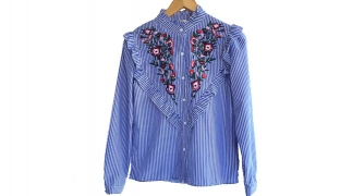 Casual Striped White & Blue Floral Shirt For Women Size: Small
