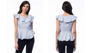 Casual Striped White & Blue Ruffled Top With Waist Belt For Women Size: Small