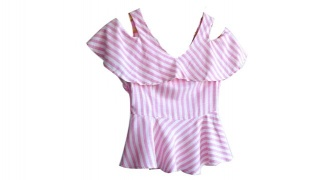 Casual Striped Pink & White Ruffled Top For Women Size: Small