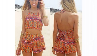 Bohemian Print Patterned Romper For Women One Size