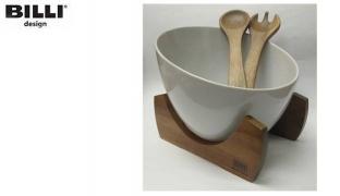 Billi Design Set Of Porcelain Salad Bowl With Wooden Stand Spoon & Fork 4 Pcs