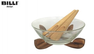 Billi Design Set Of Glass Salad Bowl With Wooden Stand Spoon & Fork 4 Pcs