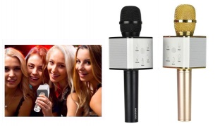 Q7 Wireless Bluetooth Handheld Karaoke Microphone With Speaker For Smartphone - Gold