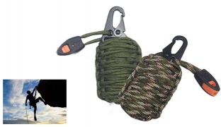 Paracord Grenade Keychain Emergency Survival Kit - Army Green Camouflage