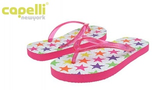 Capelli New York Glitter Jelly With Star Brite Printed Flip Flop For Girls - Size: 27-29