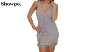 Showpo Grey Mini Dress With Lace For Women Size: Small