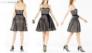 BCBG Metallic Black Kimmy Ruffled Metallic Lace Dress With Satin Black Belt Size: Medium