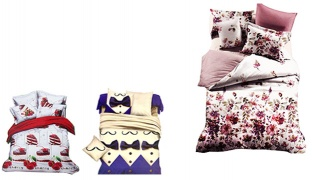 Set Of 4 Pcs 3D Digital Print Satin de Cotton Bedding Set 1 Bed Cover, 1 Duvet Cover and 2 Pcs Pillow Cases - Cherry Cake
