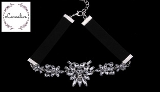 Lumalive Perfetto Black Choker With Crystals For Women