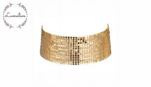 Lumalive Golden Metallic Sequin Wide Mesh Choker For Women