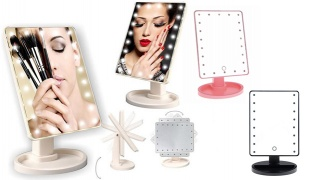 Rotatable & Portable Touch Screen Large Illuminated Led Mirror - Black