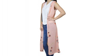 Salmon Long Cardigan With Hood Designed With Tulips For Women - Medium