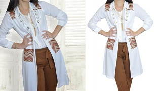Long White & Brown Cardigan For Women - Size: 40