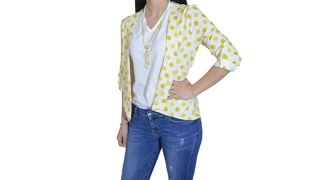 The Pineapple Set Of White Sleeveless Top & White With Mustard Design Light Self-Tie Blazer Jacket For Women - Size: 38