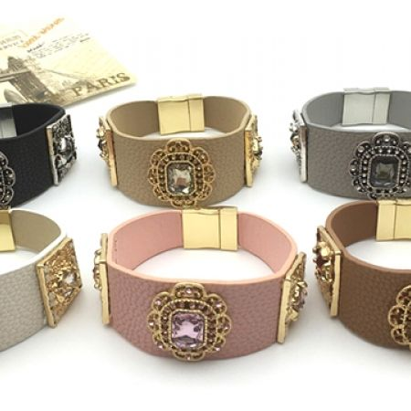 Handmade Rhinestone Magnetic Clasp Leather Bracelets - White