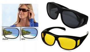 Set Of 2 Pcs Unisex HD Vision Day & Night Anti-Glare Polarized UV Sunglasses