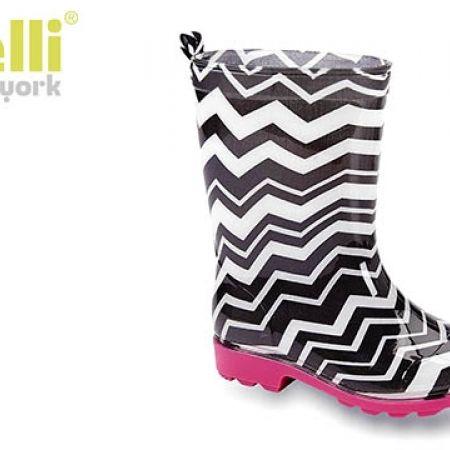 Capelli New York Girls Shiny Chevron Stripes Printed Jelly Rain Boot
