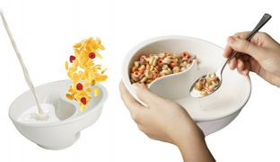 The Original Never Soggy Cereal Bowl With The Spiral Slide Design 'n Grip