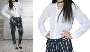 Long Basic White Sleeve Shirt For Women - Medium