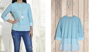 The Blue Light Ilusion Three-Quarter Sleeve Layered Top For Women - Blue/Light Blue - Small