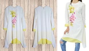 Princess Floral Pastel White & Lemon Tunic Dress For Women - Small