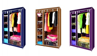 Elegant Double Sided Foldable Canvas Wardrobe 90 x 46 x 165 cm - Purple