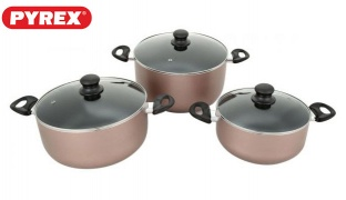 Pyrex Set Of 6 Pcs Rose Gold Faitouts Argento Cookware With Lid In Different Sizes