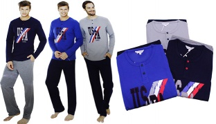 U.S. Polo Assn Set Of 2 Pcs USPA 1890 Pajama For Men - Navy Blue - Size: Medium