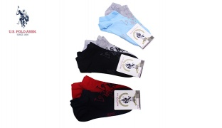 U.S. Polo Assn Pack Of 2 Pair No Show Micro-Crew Socks For Women Size: 35-39 - Navy Blue/Red