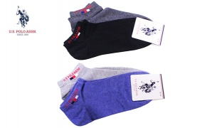 U.S. Polo Assn Pack Of 2 Pair No Show Micro-Crew Simple Socks For Men Size: 40-44 - Black/Anthracite