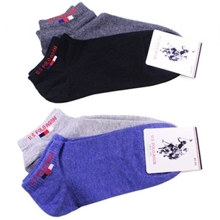 3038174ce U.S. Polo Assn Pack Of 2 Pair No Show Micro-Crew Simple Socks For Men Size:  40-44 - Black/Anthracite - Makhsoom