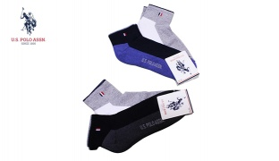 U.S. Polo Assn Pack Of 2 Pair No Show Mini-Crew Double Color Socks For Men Size: 40-44 - Navy Blue/White