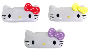 Hello Kitty Shaped Plastic 2 Layers Pencil Case - Yellow