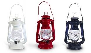 Everlasting Glow Battery Operated Metal Led Hurricane Lantern With Glass Globe - White