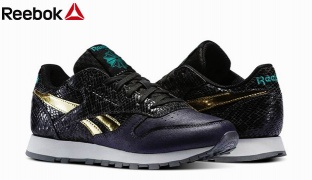 Reebok Black & Gold Classic Leather Scare Shoes For Women - Size: 36