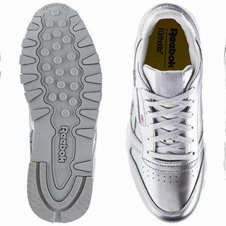 906e93fe Reebok Silver & White Classic Leather Metallic Grade School Shoes For Women